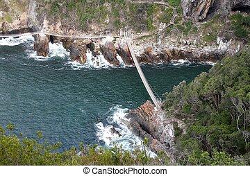 zawieszenie, na, rzeka, most