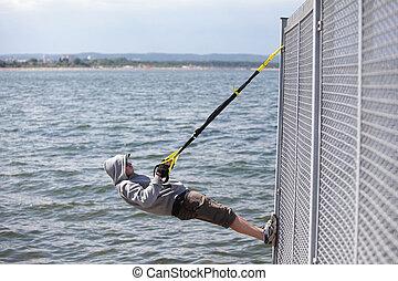 zawieszenie, trening, morze