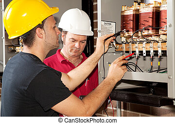 zawodowy, trening, -, elektryk