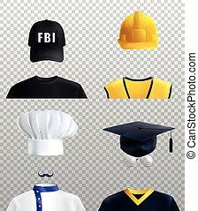 zawody, różny, komplet, kapelusze
