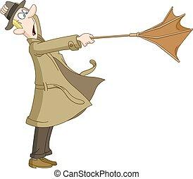 zawrócony, człowiek, parasol, poza