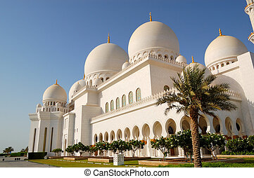 zayed, mezquita, jeque, abu, magnífico, dhabi, durante, uae,...
