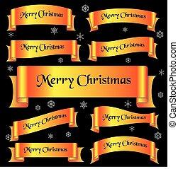 zbabělý, lesklý, barva, merry christmas, heslo, oblý, lem, standarta, eps10