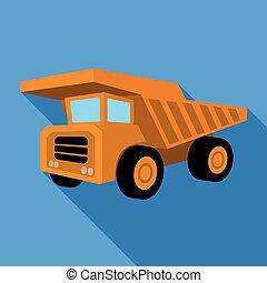 zbabělý, sklápěcí nákladní auto, s, čerň, wheels.the, povoz, použitý, jako, doprava, o, minerály, v, ta, mine.mine, píle, svobodný, ikona, do, byt, móda, vektor, znak, kmen, illustration.