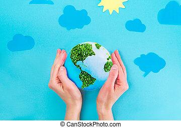 zbawczy, collage, clouds., papier, samica, ziemia, kiełbiki, twój, błękitny, przestrzeń, słońce, górny, dzierżawa, text., tło, siła robocza, siła robocza, planeta, zielony, wzór, concept., prospekt