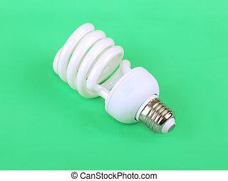zbawczy, lekki, energia, zielone tło, fluorescencyjny, bulwa