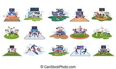 zbiór, athlet, set., różny, fachowiec mają na sobie, activity.