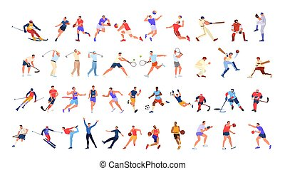 zbiór, athlet, set., różny, profesjonalny, ludzie, sport, activity.