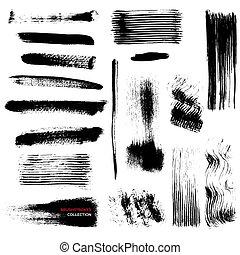 zbiór, brushstrokes, wektor