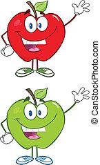 zbiór, czerwone jabłko, zielony