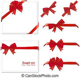 zbiór, czerwony, bows., vector.