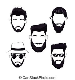 zbiór, hipster, mężczyźni, broda, włosy