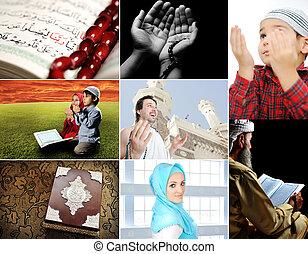 zbiór, ich, ludzie, kilka, muslim, islam, collage, ...