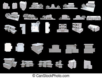 zbiór, jeden, domy, część, biały, 3d