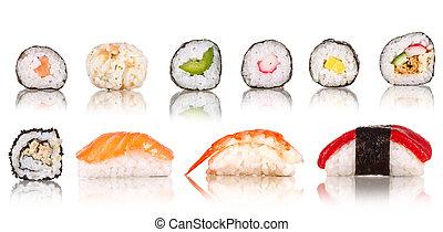 zbiór, kawałki, tło, odizolowany, sushi, biały