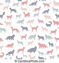 zbiór, kot, ikona, styl, dziedziczy się, seamless, koty, ...