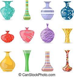 zbiór, od, śliczny, nowoczesny, barwny, wazony, dla, twój, projektować