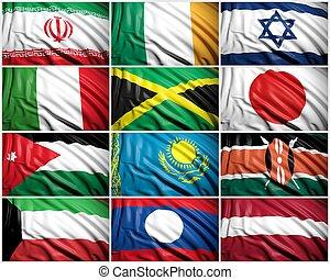 zbiór, od, bandery