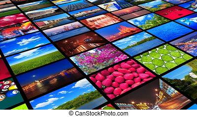 zbiór, od, barwny, fotografie
