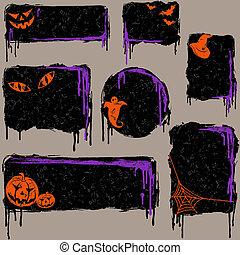zbiór, od, grungy, halloween, zaprojektujcie elementy