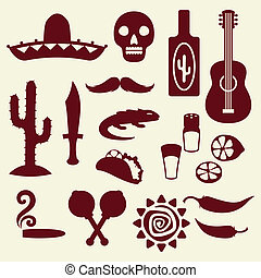 zbiór, od, meksykanin, ikony, w, krajowiec, style.