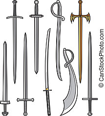 zbiór, od, miecze, i, szable