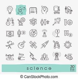 zbiór, od, naukowy, icons.