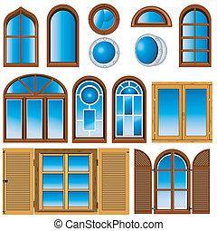 zbiór, od, okna