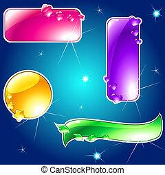 zbiór, od, połyskujący, jaskrawo barwny, chorągwie