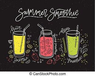 zbiór, od, smoothies, robiony, od, smakowity, świeży plon, jagody, i, warzywa, w, okulary, i, słój, z, straws., chorągiew, z, zdrowy, detox, napoje, zachwycający, miękkie spirytualia, albo, cocktails., wektor, illustration.