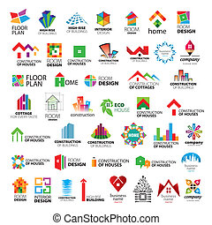 zbiór, od, wektor, logos, zbudowanie, i, rodzinne ulepszenie