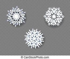 zbiór, płatki śniegu, tło, przeźroczysty, biały