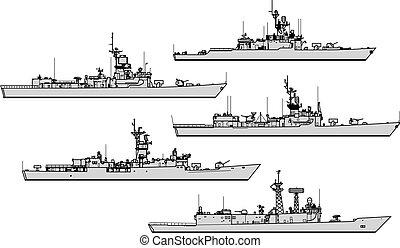 zbiór, war., sylwetka, wektor, na, przeziębienie, statki wojenne, frigates.