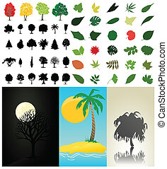 zbiór, wektor, drzewa, leaves., ilustracja