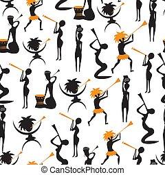 zbiór, wzory, afrykanin, tło, wektor, seamless, tradycyjny