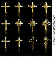 zbiór, złoty, projektować, krzyż, religijny