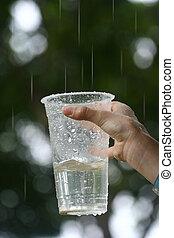 zbieranie, filiżanka, dziecko, młody, deszcz, wręczać ...