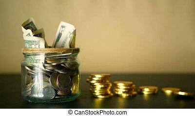zbieranie, keeping, zbawczy, inwestując, słój., symbol pieniędzy, moneybox, gotówka, banknotes, szkło, cyna, pieniądz, concept.