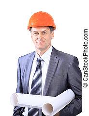 zbudowanie, architekt, handlowy, umiejscawiać