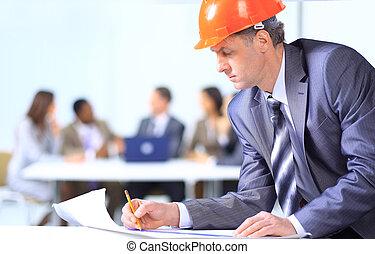 zbudowanie, człowiek, handlowy