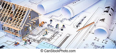 zbudowanie, dom, pod