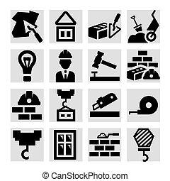 zbudowanie, ikony, komplet