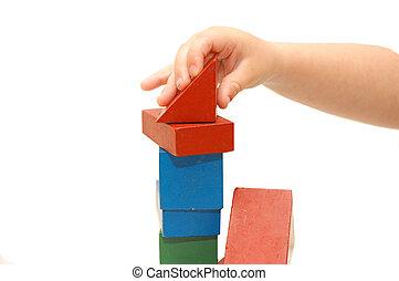zbudowanie, kostki, dzieci, tworzy, ręka
