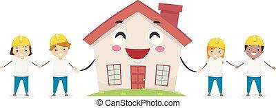 zbudowanie, ochotnik, maskotka, dzieciaki, stickman, dom
