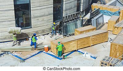 zbudowanie, outdoors, pracownicy, bruk, umiejscawiać