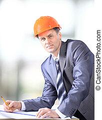 zbudowanie, przystojny, człowiek, handlowy