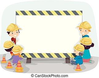 zbudowanie, stickman, deska, ilustracja, dzieciaki