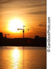 zbudowanie, zachód słońca, umiejscawiać