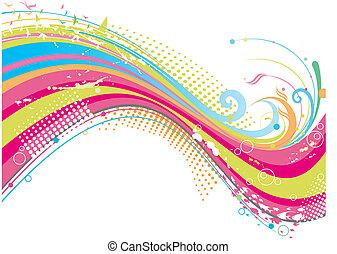 zděšený, barvitý, grafické pozadí