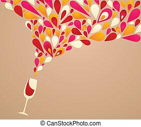 zděšený, grafické pozadí, víno